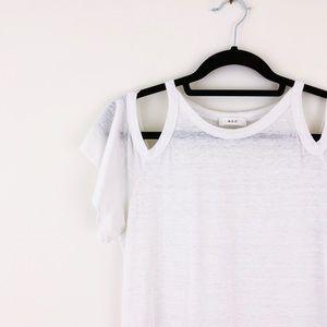 A.L.C. white Linen Cold Shoulder Short Sleeve Tee